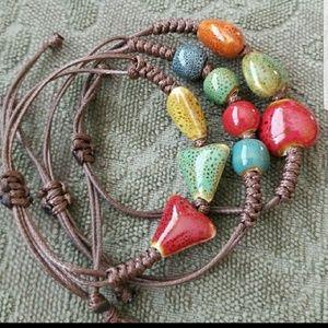 Set of 3 Ceramic Bead Layering Bracelets